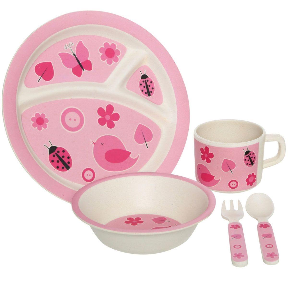Premier Housewares 5-Piece Eden Bird Kids Dinner Set - Pink