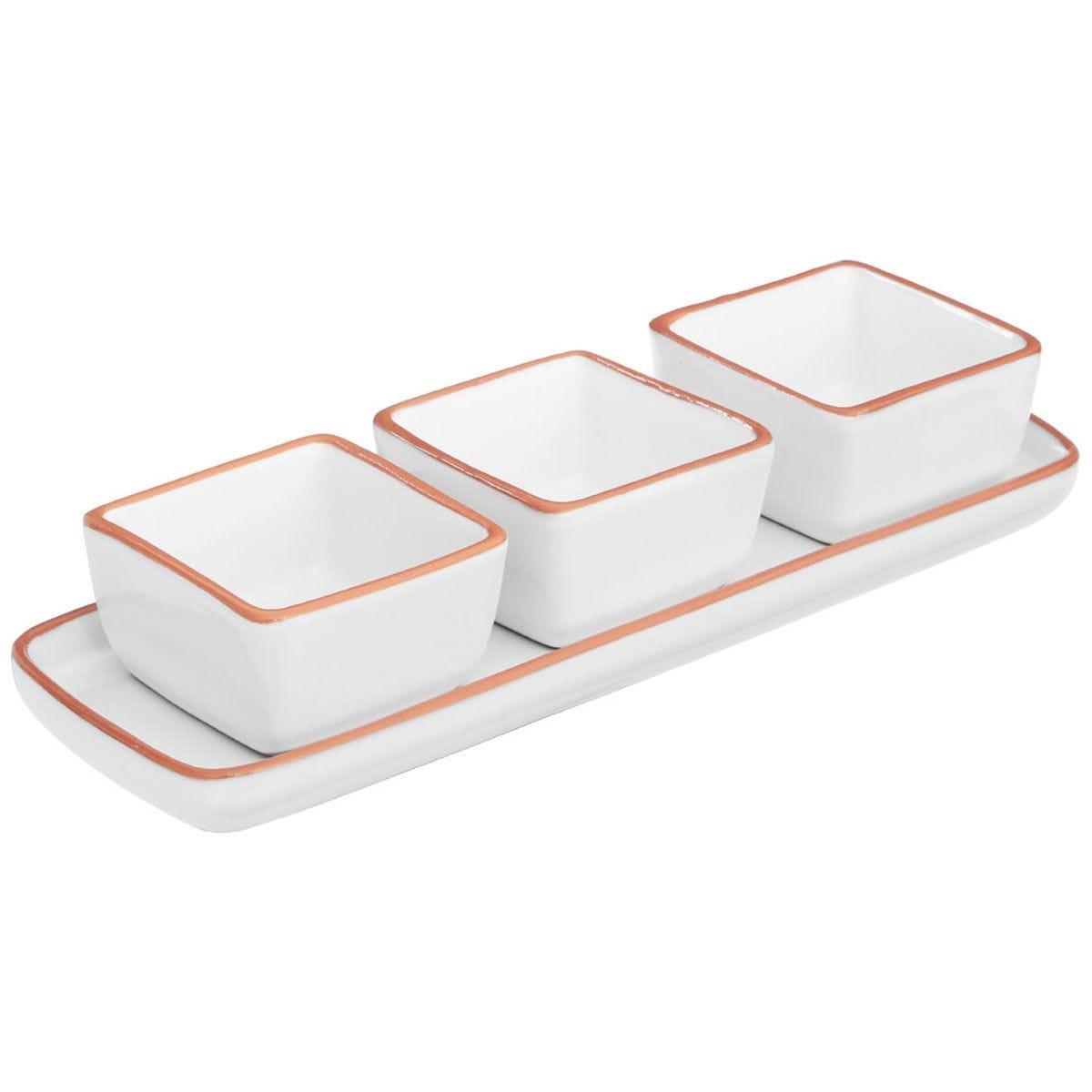 Premier Housewares White Calisto Square Dishes On Tray - Set of 3