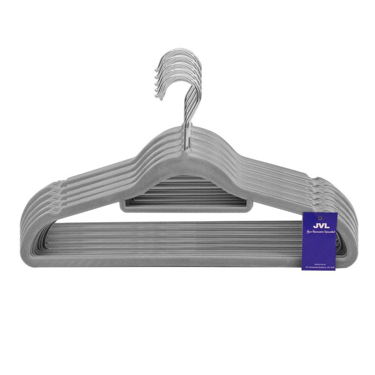 JVL Grey Velvet Touch Non-Slip Medium Coat Hangers - Pack of 100