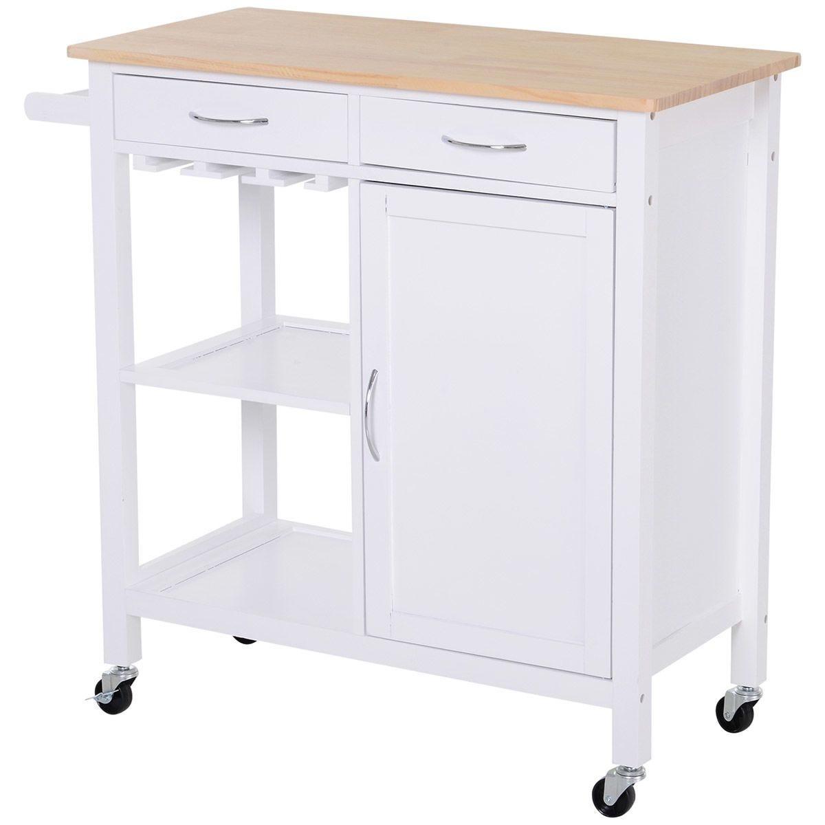 Kitchen Storage Trolley Cart - White