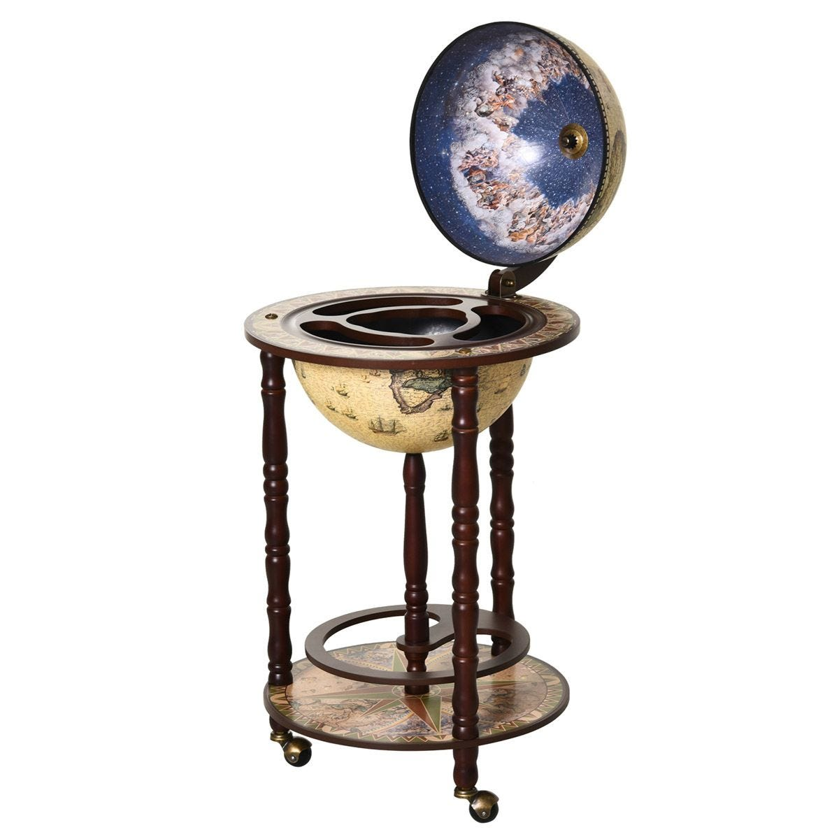 Retro Globe Drinks Cabinet With Wheels - Brown