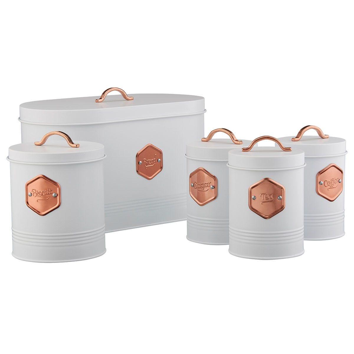 Cooks Professional Kitchen Storage Set - White & Copper