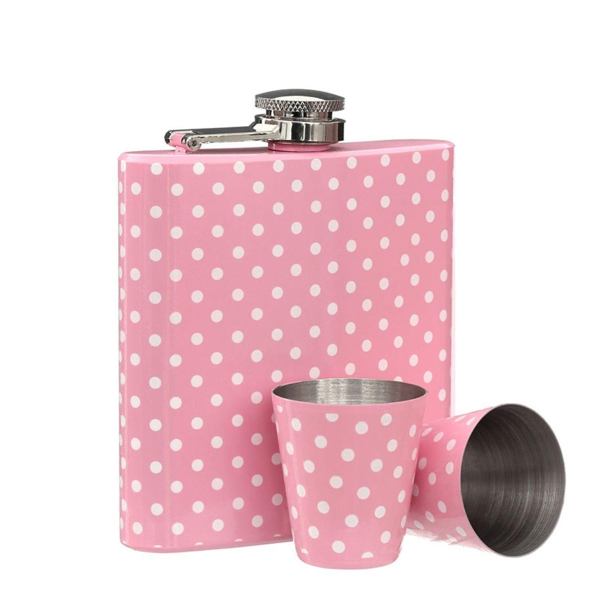 Premier Housewares Stainless Steel Hip Flask Set – Pink Polka Dot
