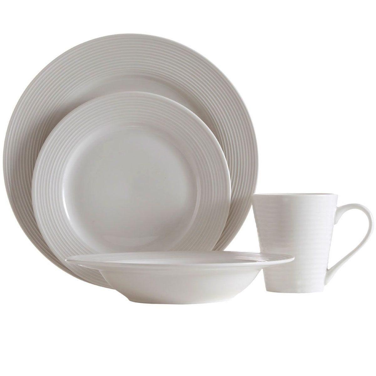 Premier Housewares 16-Piece Ribbed Dinner Set - White