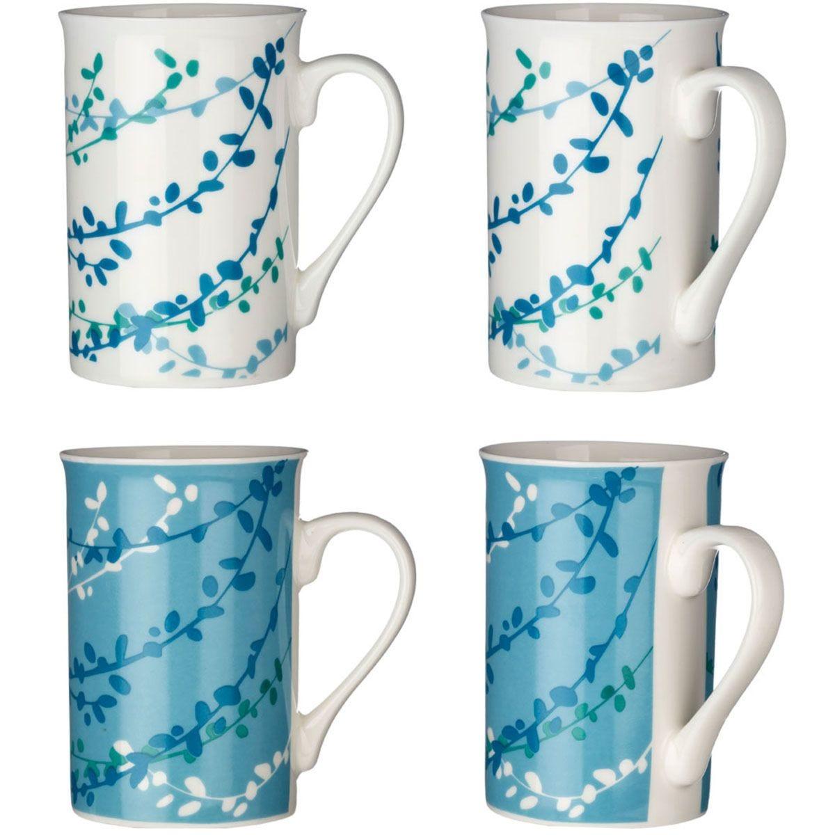Premier Housewares Blue Willow Mugs - Set of 4