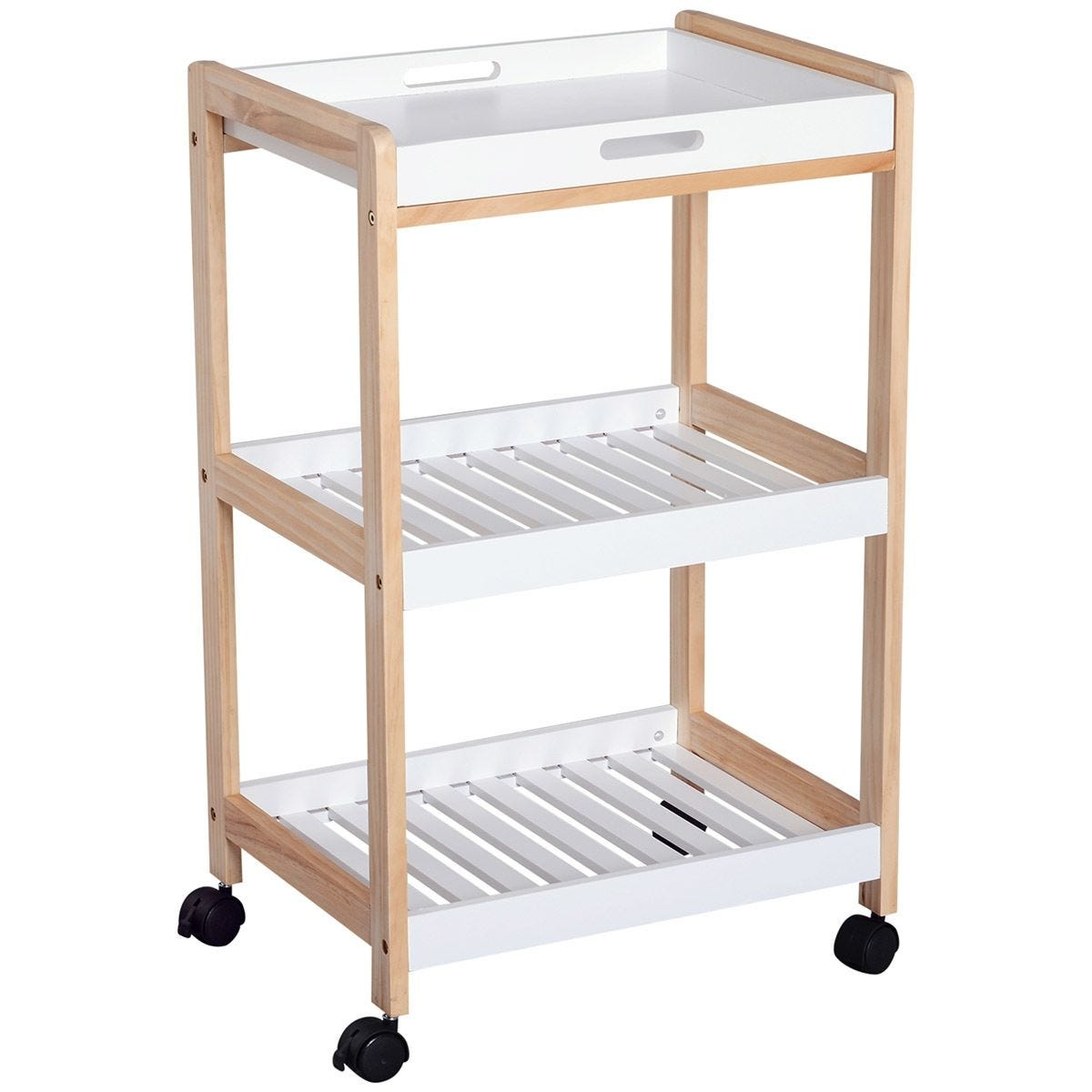 3-Tier Mobile Bamboo Kitchen Trolley Cart With Rolling Wheels - White