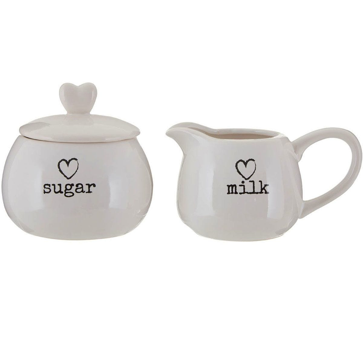 Premier Housewares Charm Milk and Sugar Set - White