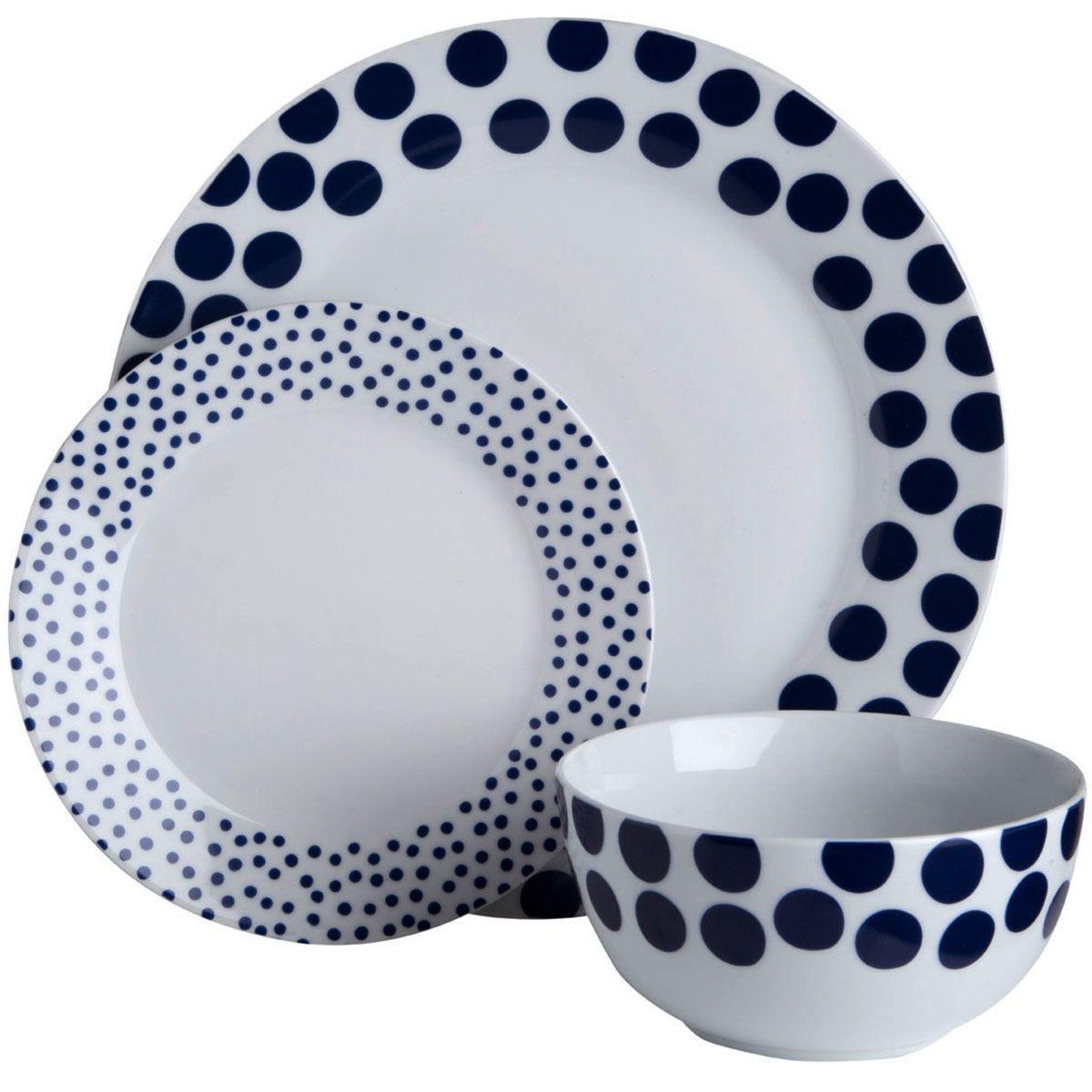 Premier Housewares 12-Piece Blue Spots Dinner Set