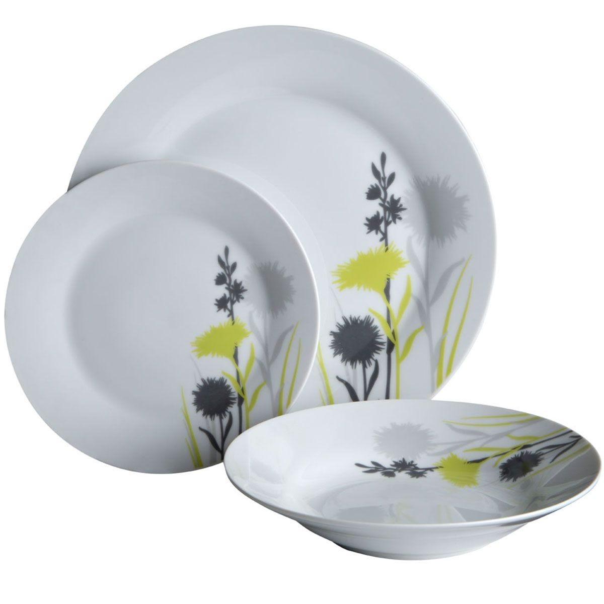 Premier Housewares 12-Piece Grey Meadow Dinner Set
