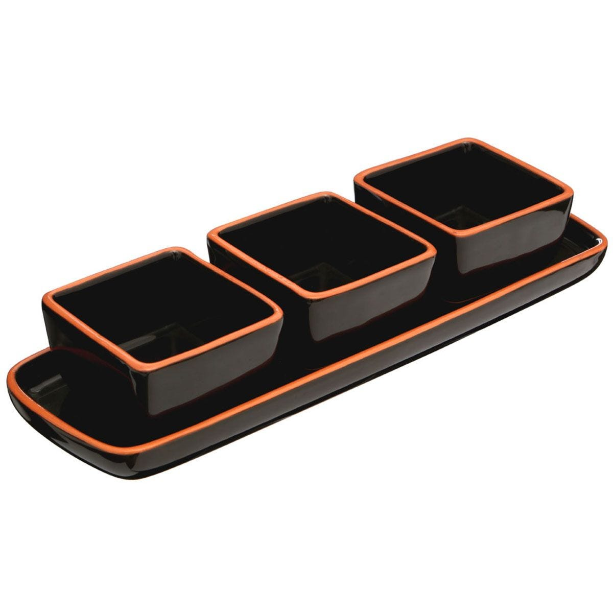Premier Housewares Black Calisto Square Dishes On Tray - Set of 3