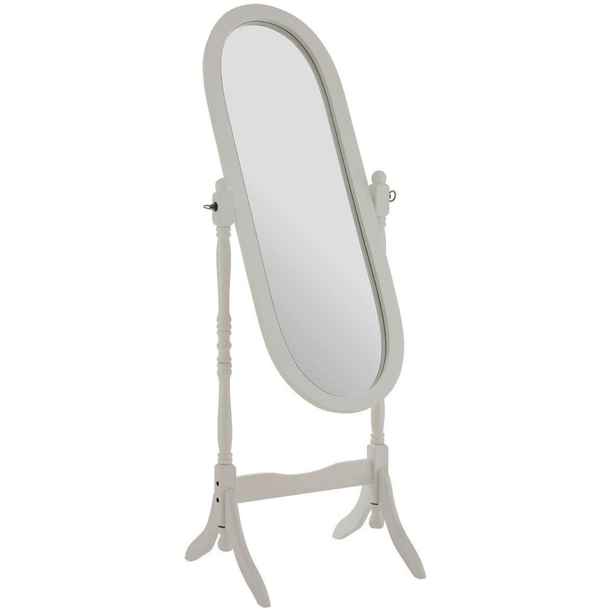 Premier Housewares Oval Cheval Mirror with White Wood Frame