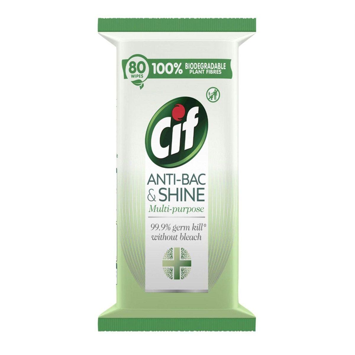 Cif Anti-Bac & Shine 80 Wipes x 3 Packs