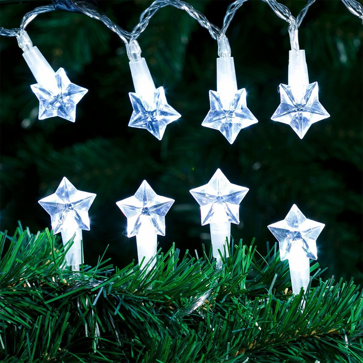 Robert Dyas Battery Operated Star Transparent String Lights - Ice White