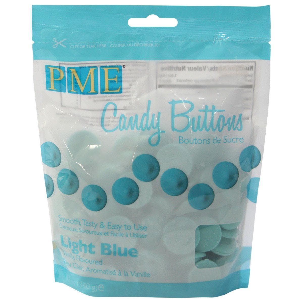 PME 340g Chocolate Candy Buttons - Blue