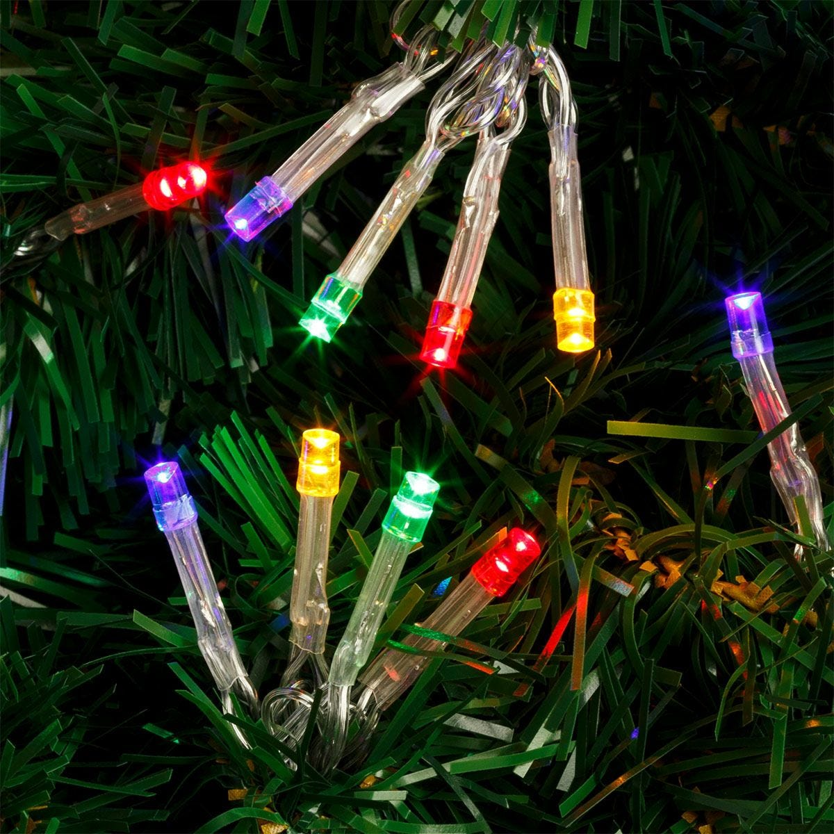 Robert Dyas Battery Operated 400 Transparent String Lights - Multicoloured