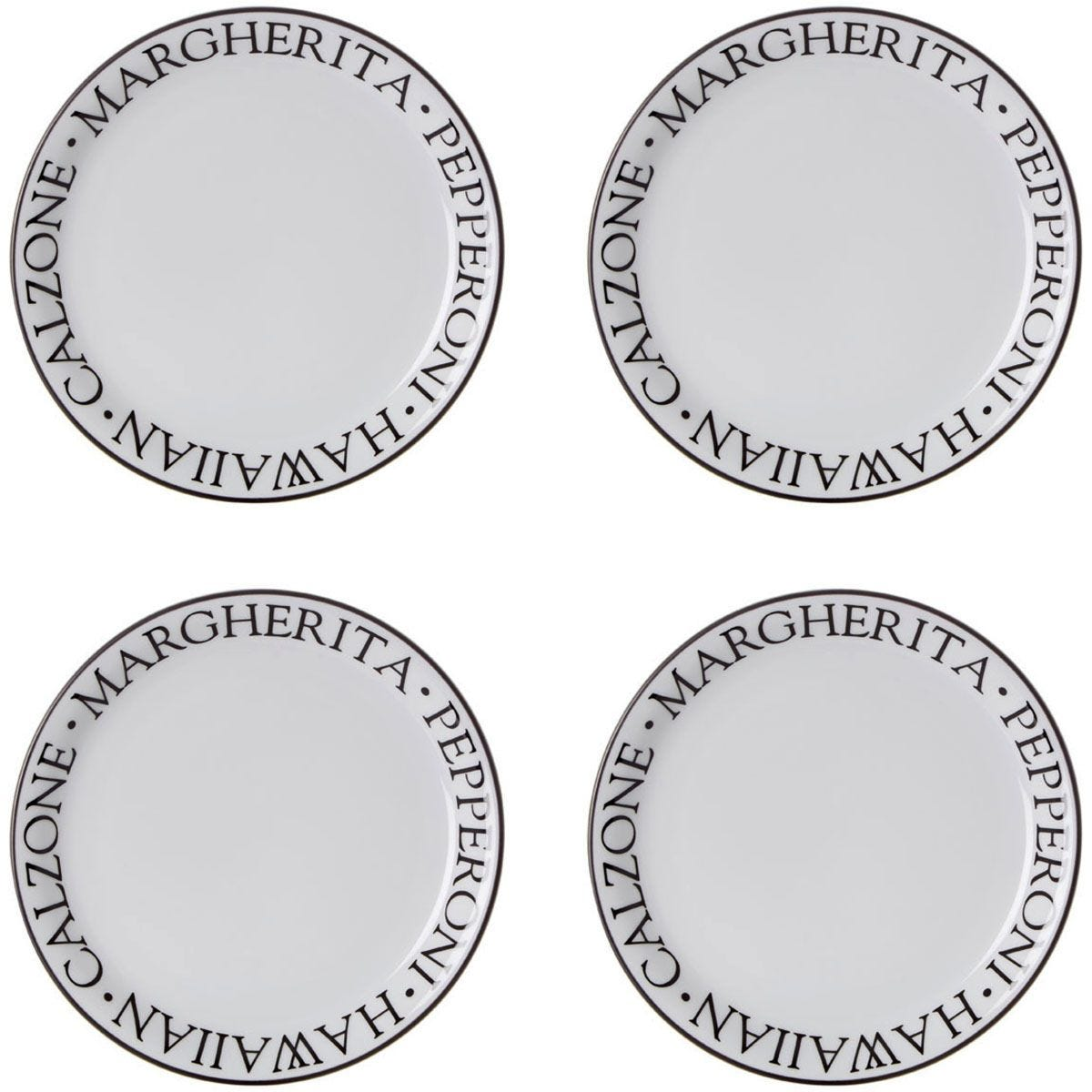 Premier Housewares Noir Pizza Plates - Set of 4