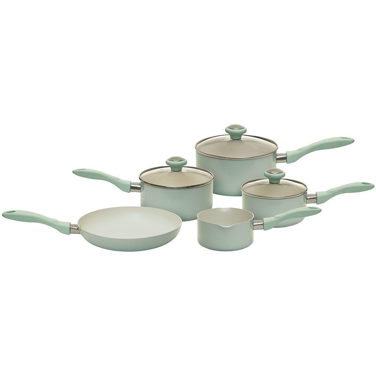 Prestige Create 5-Piece Aluminium Saucepan Set - Pastel Green