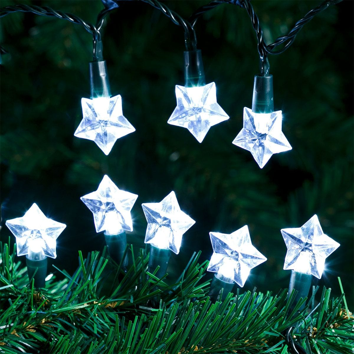 Robert Dyas 100 LED Star String Lights - Ice White