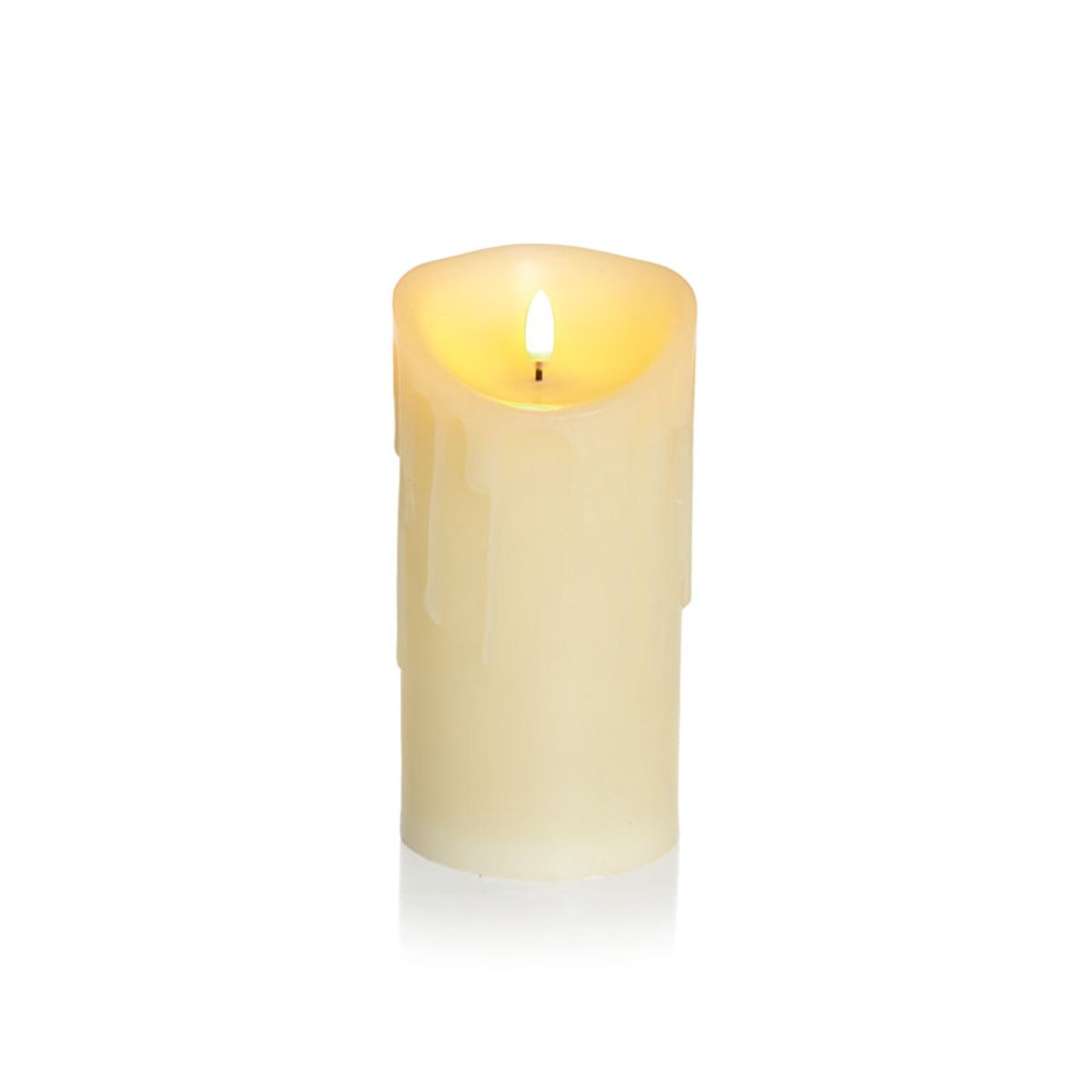 Premier Melted Flicker Candle 18x9cm - Cream