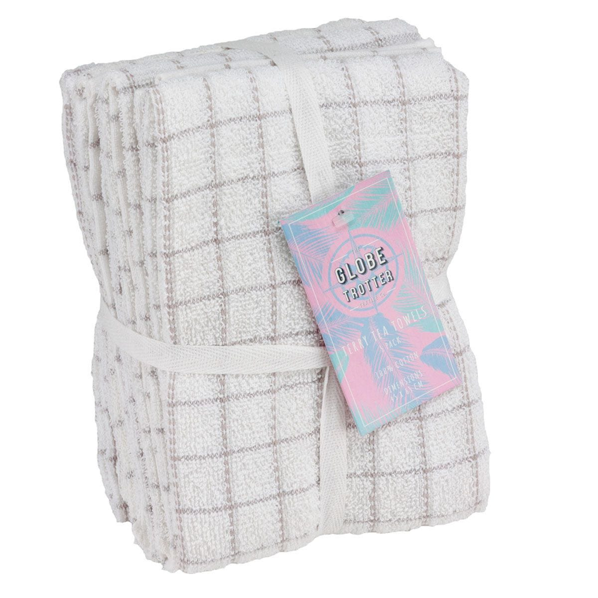 Globetrotter Terry Tea Towels Pack of 5 - Light Grey