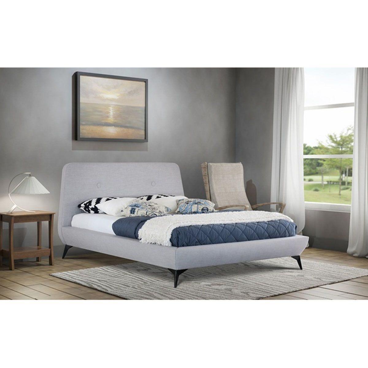 Lucia USB Fabric Bed Frame - Grey