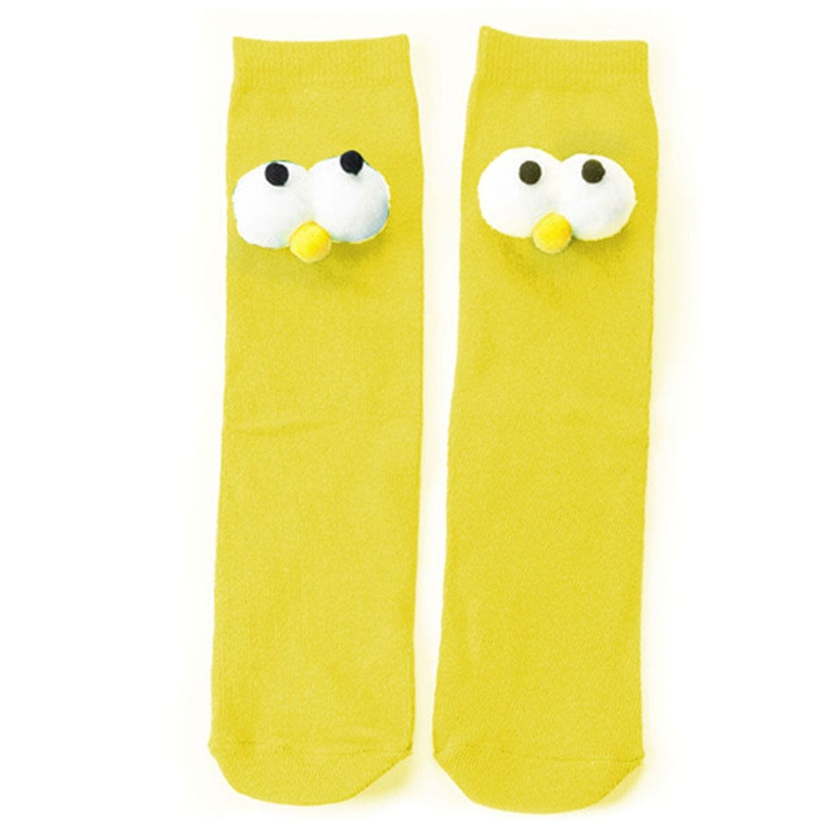 Flo Knee High Socks With Large Big Eyes - Yellow