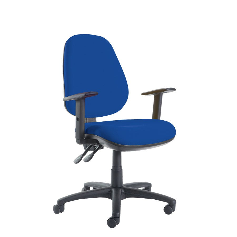 Dams Jota High Back Operator Chair With Adjustable Arms Blue