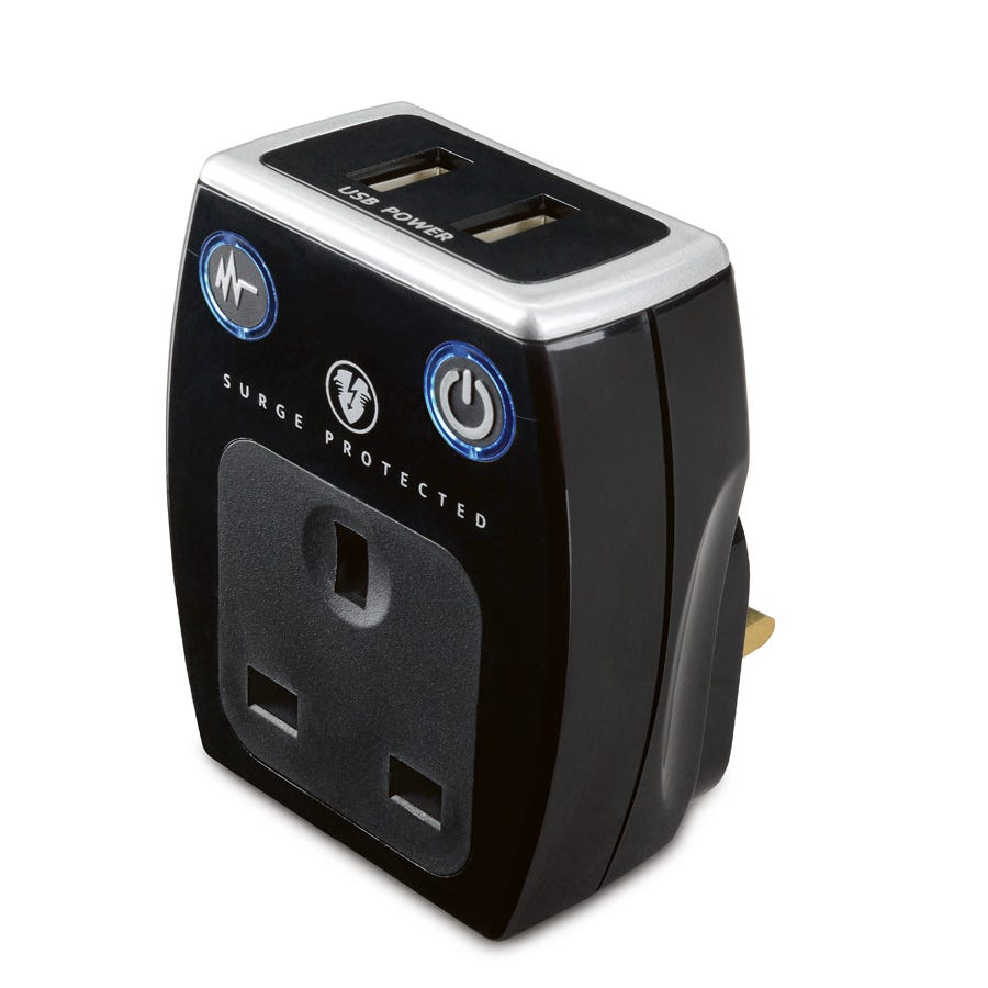 Masterplug Dual USB Charger with Surge Protection - Black