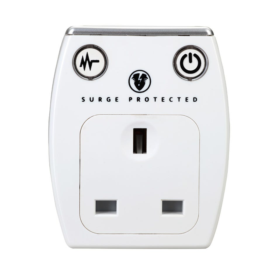 Masterplug Dual USB Charger with Surge Protection - White