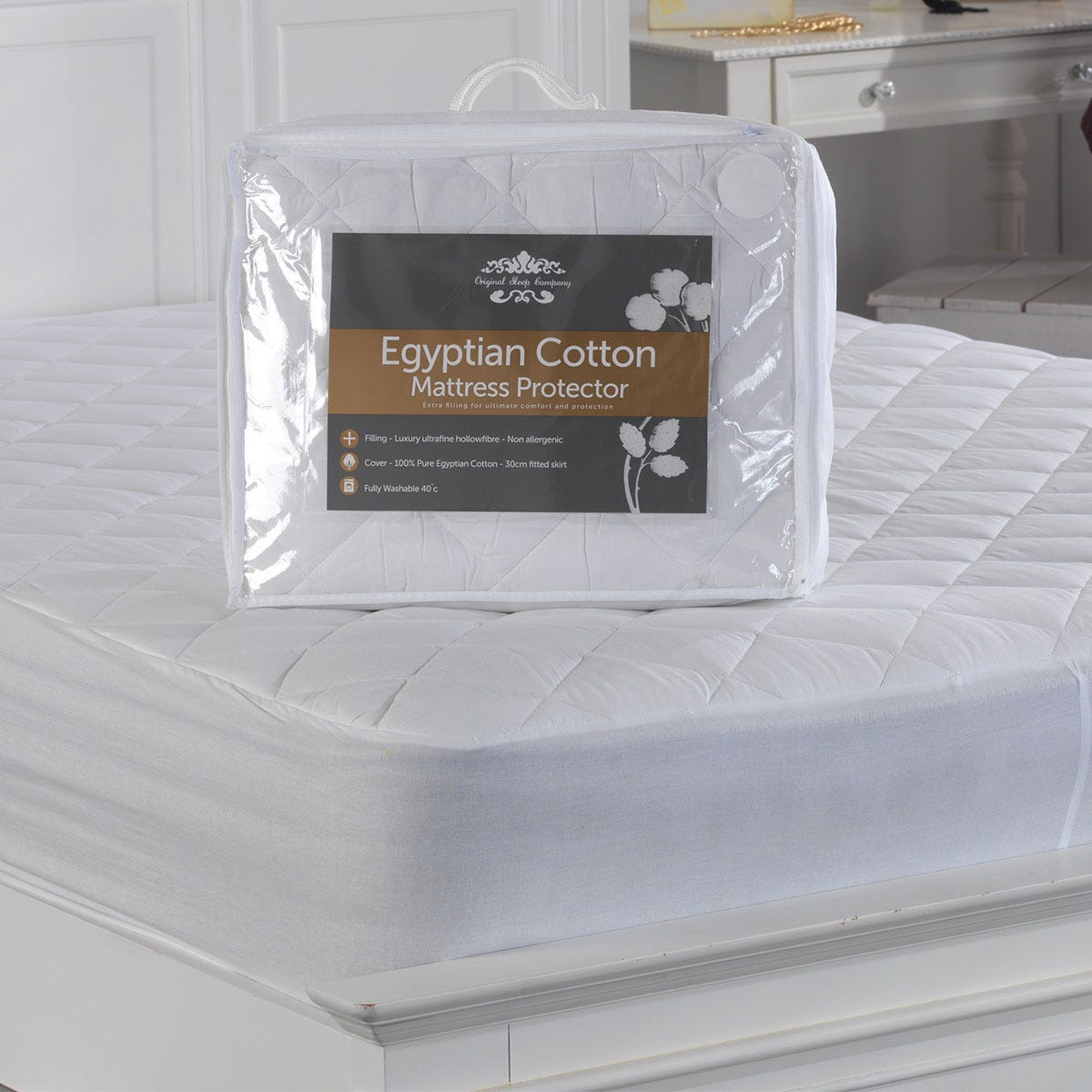 Lancashire Textiles Egyptian Cotton Quilted Mattress Protector - King