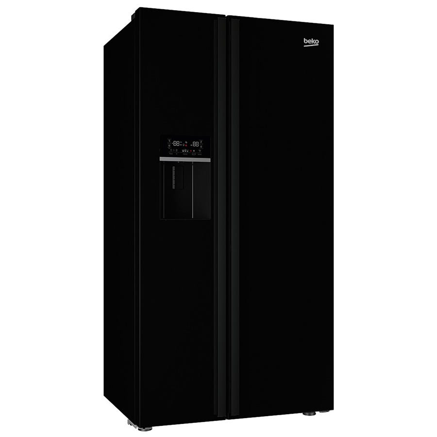 Compare prices for Beko ASNL551B American-Style Fridge Freezer - Black