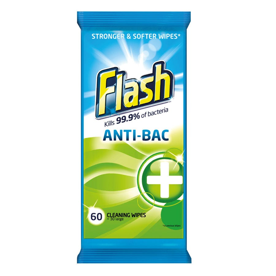 Compare prices for Flash Antibacterial Wipes - 60 Pack
