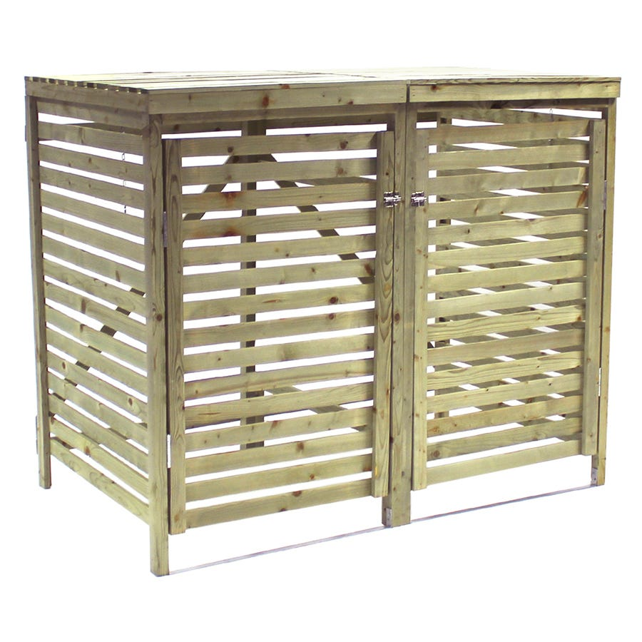 Charles Bentley Garden Nordic Spruce Wooden Bin Storage Cupboard Unit - Double