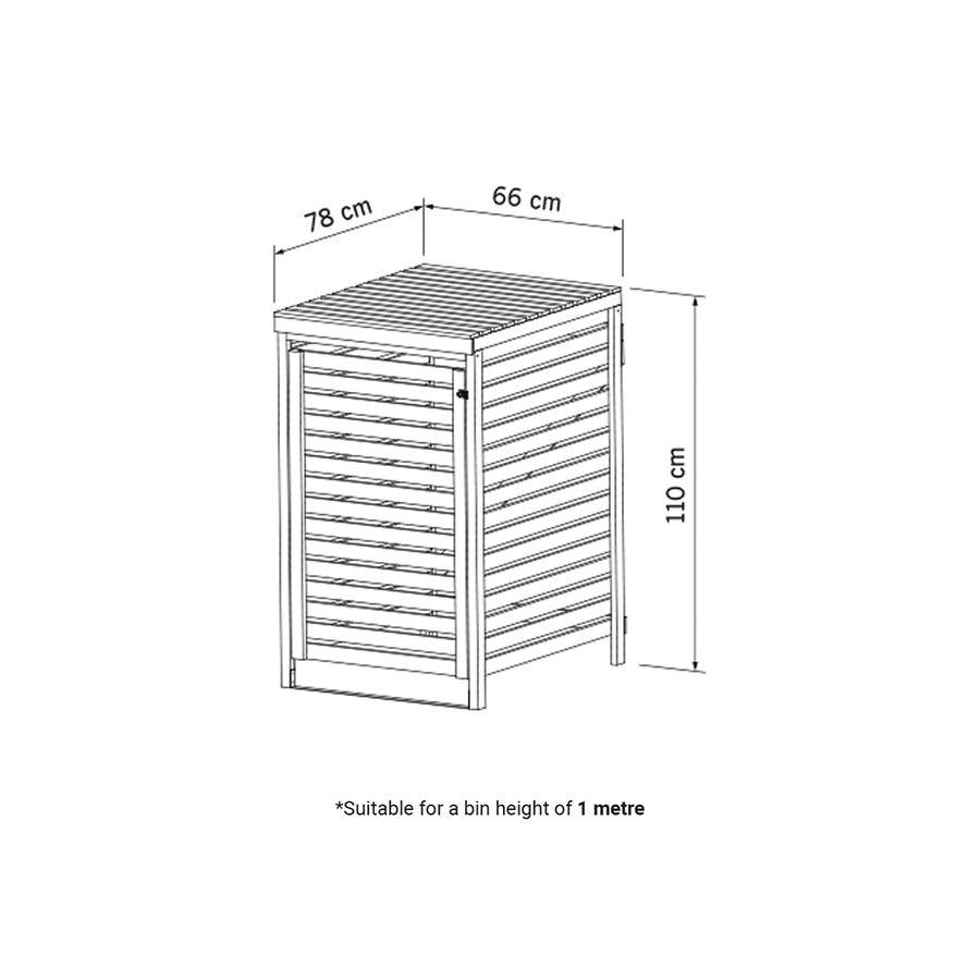 Charles Bentley Garden Nordic Spruce Wooden Bin Storage Cupboard Unit - Single