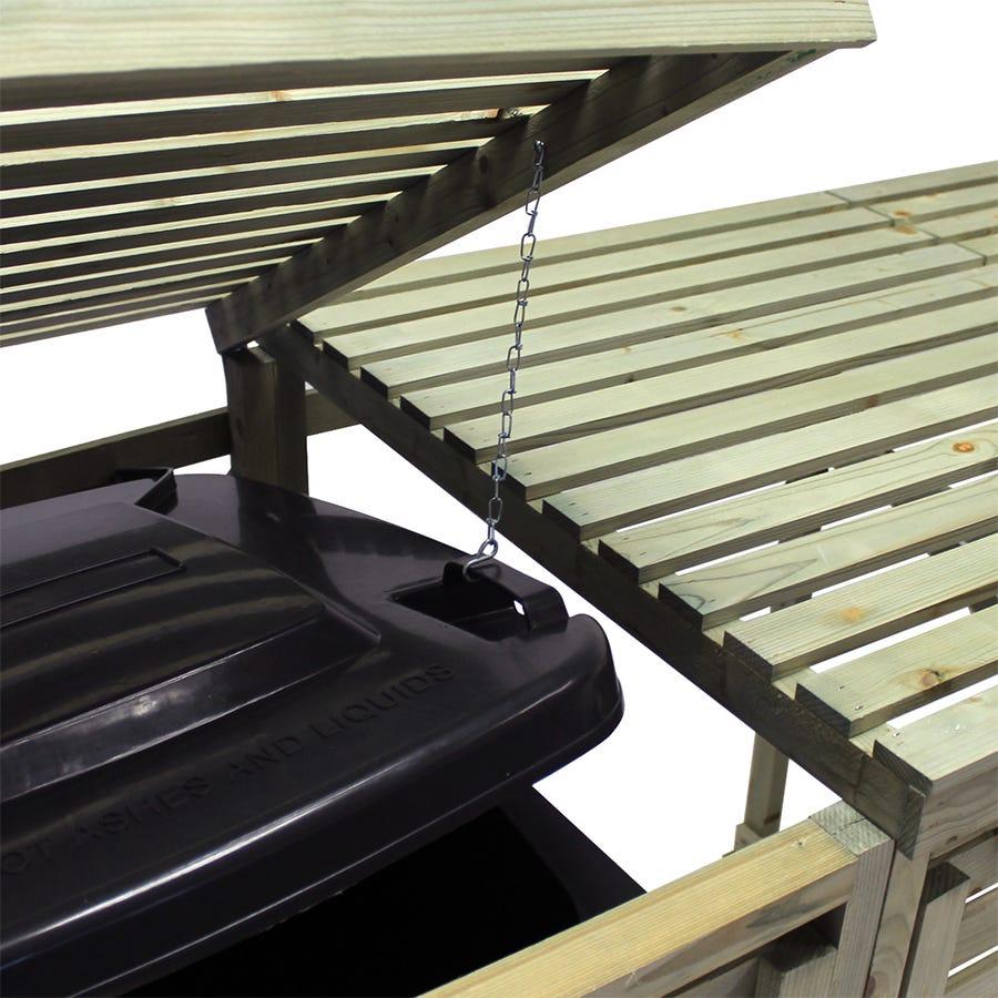 Charles Bentley Garden Nordic Spruce Wooden Bin Storage Cupboard Unit - Triple
