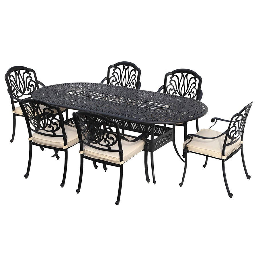 Compare cheap offers & prices of Charles Bentley Premium Cast Aluminium 7 Piece Outdoor Dining Set manufactured by Charles Bentley