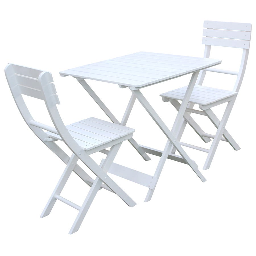 Charles Bentley 3 Piece Bistro Set Table & 2 Chairs - White
