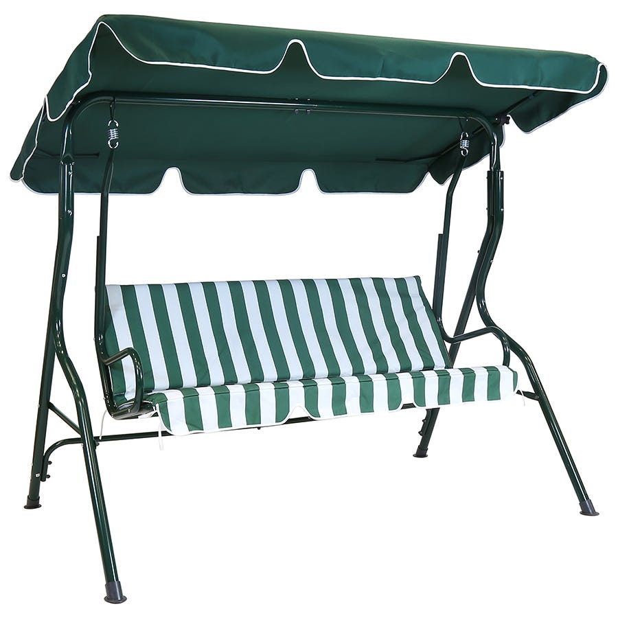 Compare cheap offers & prices of Charles Bentley 2 Seater Swing Seat - Green and White Striped manufactured by Charles Bentley