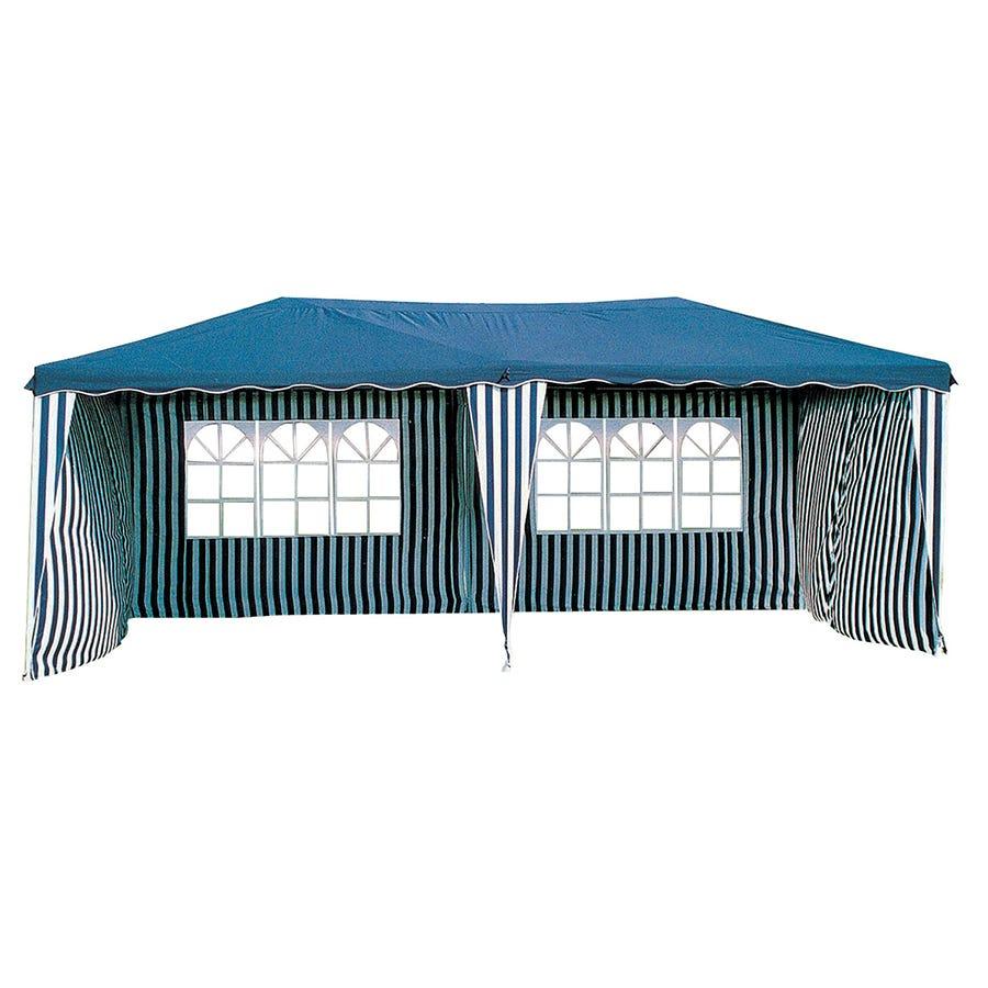Image of Charles Bentley 6m X 3m Showerproof Tent - Blue & White