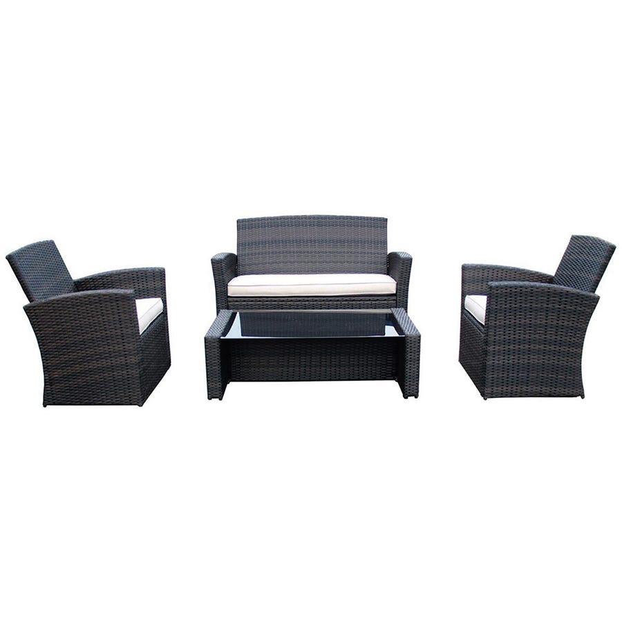 Image of Charles Bentley Deluxe Rattan-Effect 4-Piece Garden Furniture Set - Brown