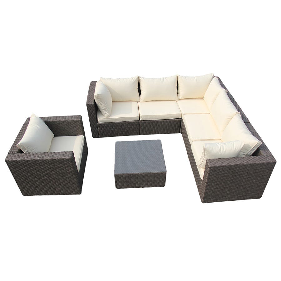 Charles Bentley Rattan Corner Unit Sofa Set - Brown & Cream