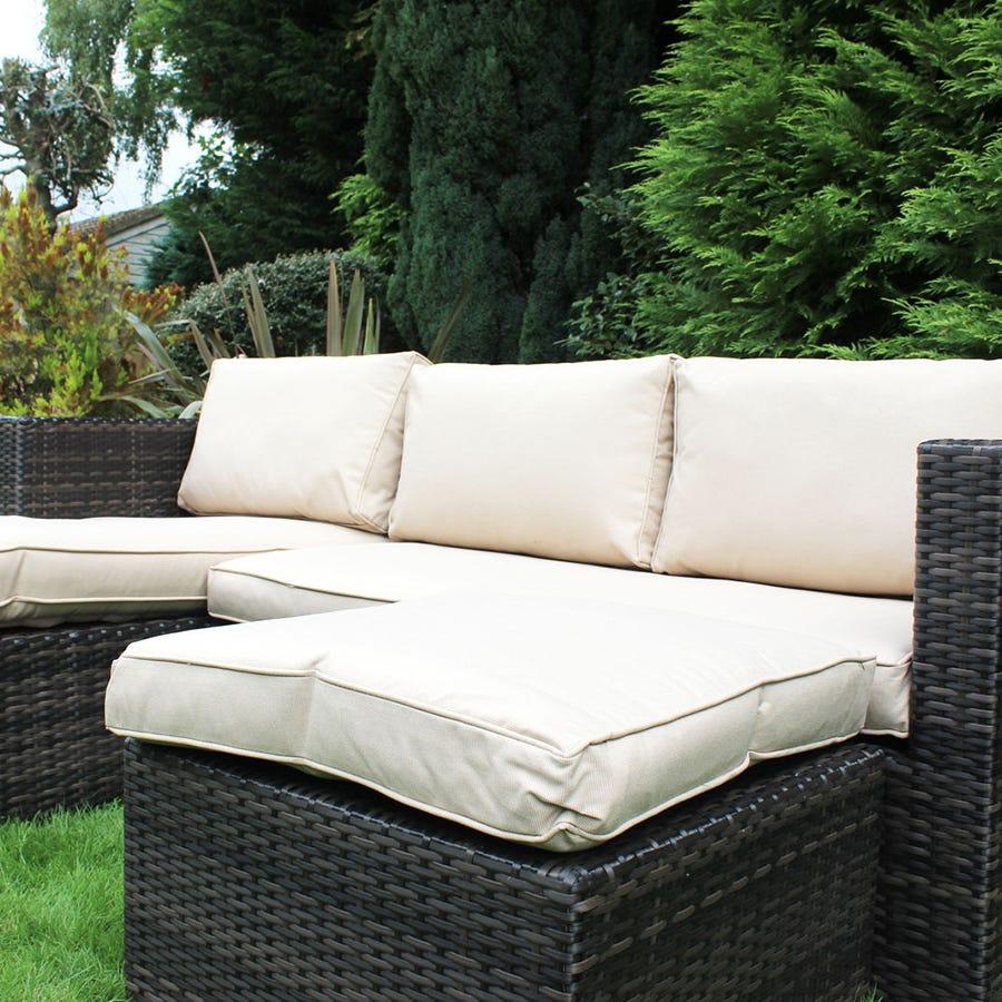 Charles Bentley L-shaped Rattan Corner Sofa Set - Dark Brown & Beige