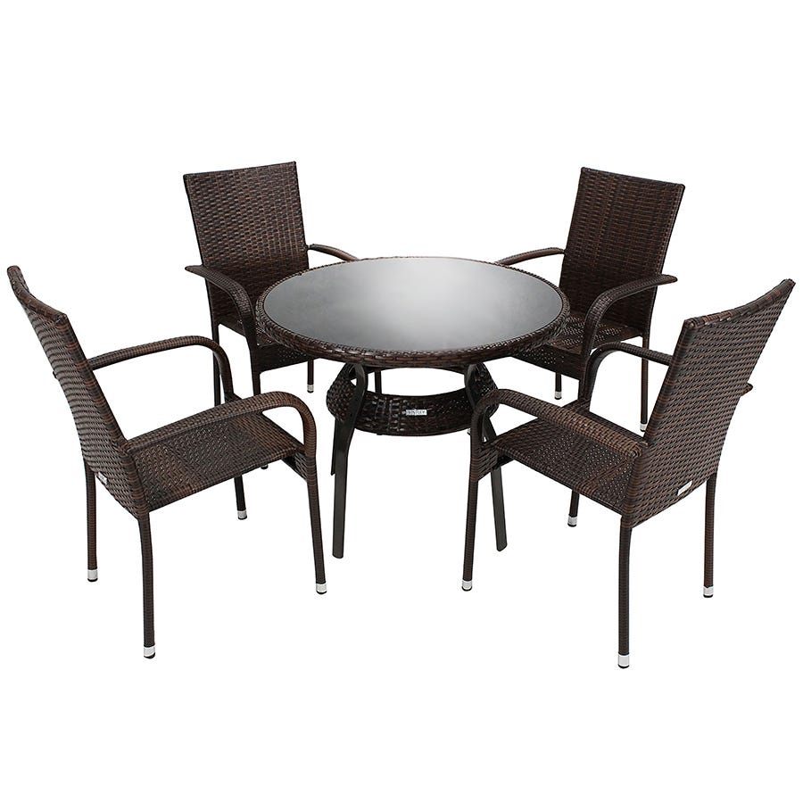Compare cheap offers & prices of Charles Bentley 5-Piece Metal and Rattan-Effect Dining Set - Dark Brown manufactured by Charles Bentley