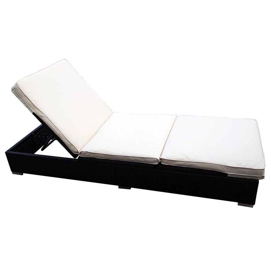 Charles Bentley Rattan-Effect Sun Lounger with Cream Cushions - Black