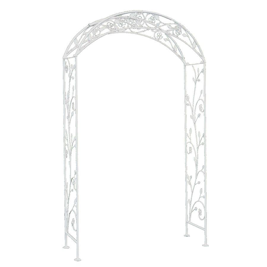 Charles Bentley Garden Wrought Iron Garden Arch White