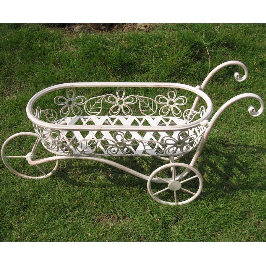 Charles Bentley Iron Decorative Wheelbarrow Planter Ornament - Distressed White