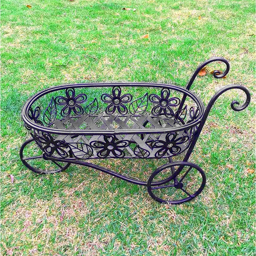 Charles Bentley Iron Decorative Wheelbarrow Planter Ornament - Antique Black
