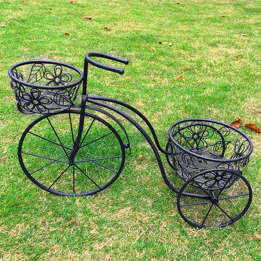 Charles Bentley Iron Decorative Penny Farthing Tricycle Planter Ornament - Antique Black