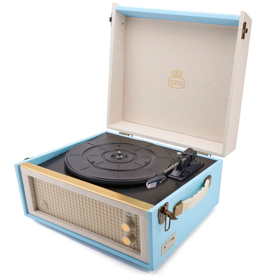 Compare retail prices of GPO Bermuda 3-Speed Record Player with USB - Blue to get the best deal online