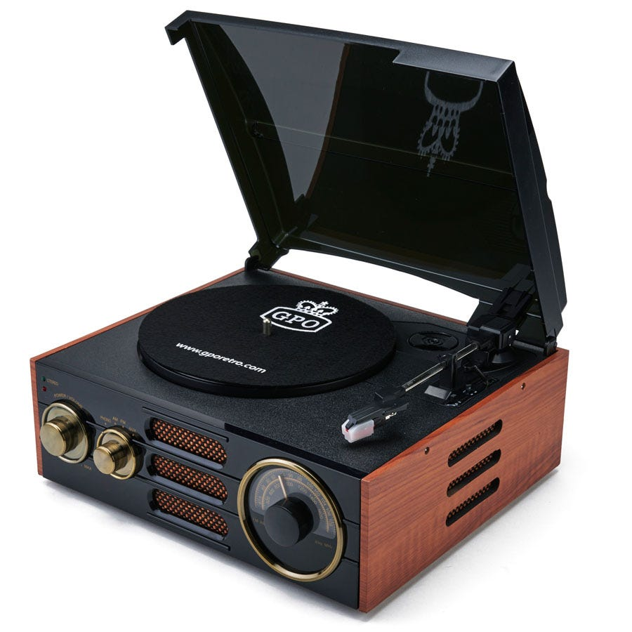 Cheapest price of GPO Empire Turntable - Black and Brown in new is £69.99